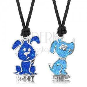 Naszyjnik sznurkowy, ciemnoniebieski i jasnoniebieski piesek, emalia, napis BEST FRIEND obraz