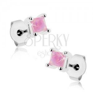 Lśniące stalowe kolczyki, różowy syntetyczny opal - kwadrat, 3 mm obraz