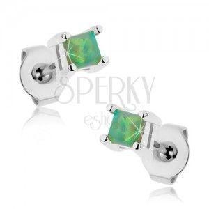 Kolczyki z chirurgicznej stali, zielony kwadracik - syntetyczny opal, 3 mm obraz