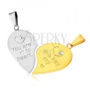 Dwa wisiorki ze stali 316L dla pary, srebrny i złoty kolor, serce, napis, cyrkonie obraz