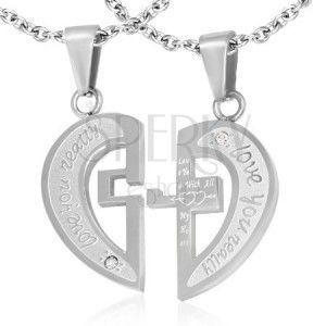 Stalowa dwuczęściowa zawieszka srebrnego koloru, rozdzielone serce, napisy, krzyż, cyrkonie obraz