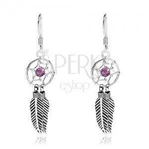 Kolczyki ze srebra 925, łapacz snów z fioletowym koralikiem i piórkami, 10 mm obraz