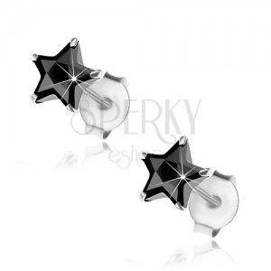 Kolczyki z 925 srebra, wkręty, wyszlifowana gwiazdeczka z czarnej cyrkonii, 6 mm obraz
