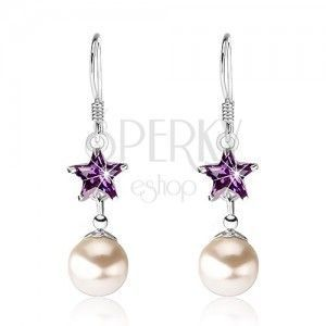 Srebrne 925 kolczyki, fioletowa cyrkonia - gwiazdeczka, perła, bigle obraz