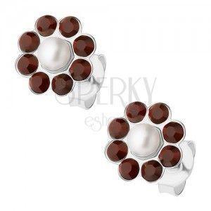 Srebrne 925 kolczyki, kwiatek z białej perełki i bordowych kryształków obraz