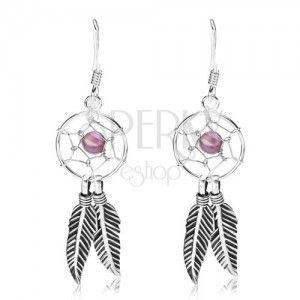 Kolczyki ze srebra 925, łapacz snów z fioletowym koralikiem i piórkami, 12 mm obraz