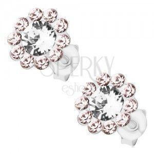 Srebrne 925 kolczyki, kwiatek z kryształków Preciosa, bezbarwny i jasnofioletowy odcień obraz