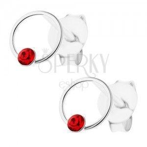 Srebrne kolczyki 925, czerwony Swarovski kryształ, cienki krążek obraz