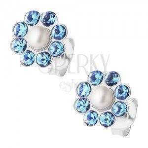 Sztyfty, srebro 925, niebieski błyszczący kwiatek, biała perełka obraz