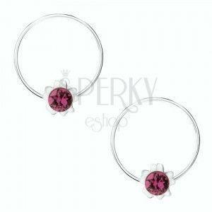 Okrągłe kolczyki ze srebra 925, fioletowy kwiatek, okrągły kryształ Swarovski obraz