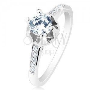 Zaręczynowy pierścionek - srebro 925, wąskie ozdobione ramiona, bezbarwna cyrkonia, ozdobiony koszyczek obraz