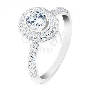 Zaręczynowy pierścionek ze srebra 925, lśniące ramiona, okrągła bezbarwna cyrkonia obraz