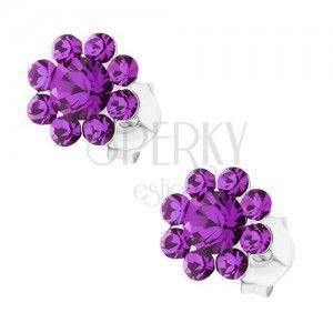 Kolczyki ze srebra 925, błyszczący kwiatek - fioletowe kryształki Preciosa obraz