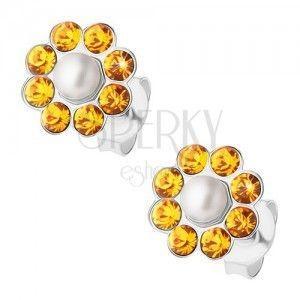 Srebrne kolczyki 925, pomarańczowy kwiatek z białą perełką pośrodku, sztyfty obraz