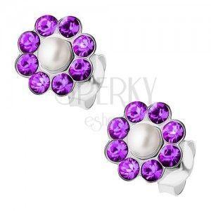 Srebrne kolczyki 925, perełka, fioletowe kryształki Preciosa - kwiatek obraz