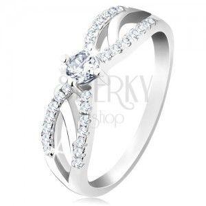 Zaręczynowy pierścionek ze srebra 925, rozdzielone lśniące ramiona, bezbarwna cyrkonia obraz