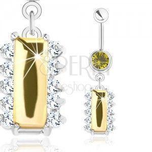 Stalowy piercing, srebrny odcień, żółty cyrkoniowy prostokąt, bezbarwne cyrkonie obraz