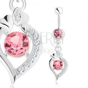 Stalowy piercing do brzucha, srebrny kolor, różowe cyrkonie, zarys ziarenka obraz