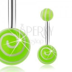 Piercing do brzucha ze stali 316L, srebrny odcień, zielone kuleczki, białe spirale obraz