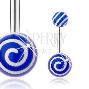 Piercing do brzucha, stal 316L, srebrny odcień, niebieskie kuleczki, białe spirale obraz