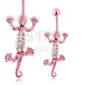 Piercing do brzucha ze stali chirurgicznej, różowa ruchoma jaszczurka, bezbarwne cyrkonie obraz