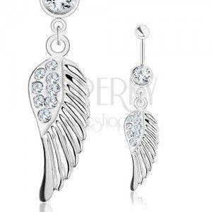 Piercing do brzucha - stal 316L, anielskie skrzydło z bezbarwnymi cyrkoniami, srebrny odcień obraz