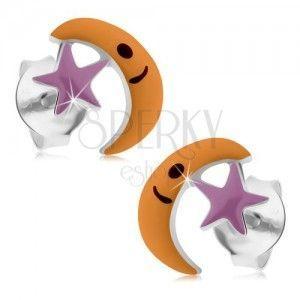 Srebrne 925 kolczyki, księżyc z gwiazdą, fioletowa i pomarańczowa emalia obraz