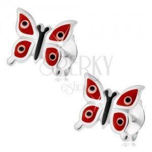 Kolczyki ze srebra 925, lśniące czerwone motylki - białe i czarne kropki, wkręty obraz