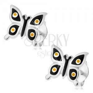 Wkręty, srebro 925, lśniący czarny motylek, żółte i białe kropki obraz