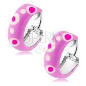 Okrągłe srebrne kolczyki 925, fioletowa emalia, różowe i białe kropki obraz