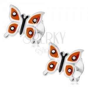Srebrne kolczyki 925, lśniący motylek - pomarańczowe skrzydła, czarne i białe kropki obraz