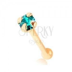 Piercing do nosa w żółtym 9K złocie - okrągła cyrkonia niebieskiego koloru obraz