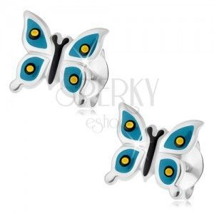 Wkręty, srebro 925, lśniący motylek, niebieskie skrzydła, żółto-czarne kropki obraz
