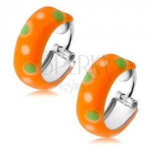 Srebrne kolczyki 925, małe pomarańczowe koła, zielone i białe kropki, emalia obraz