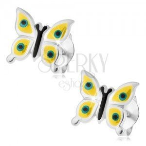 Kolczyki, srebro 925, żółty motylek, czarno-białe kropki, zapięcie na sztyft obraz