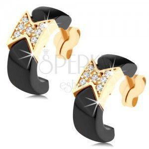 Kolczyki z żółtego 9K złota - czarne ceramiczne półokręgi, błyszcząca kokardka obraz