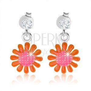 Kolczyki ze srebra 925, różowo-pomarańczowy kwiat, lśniąca emalia obraz