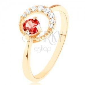 Złoty pierścionek 585 - cyrkoniowy półksiężyc, okrągły czerwony granat obraz