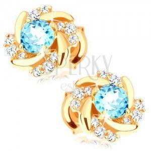 Kolczyki w żółtym 14K złocie - okrągły kwiat z niebieskim topazem i cyrkoniami obraz