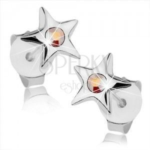 Srebrne kolczyki 925, lśniąca gwiazdeczka z tęczowym kryształkiem Swarovski obraz