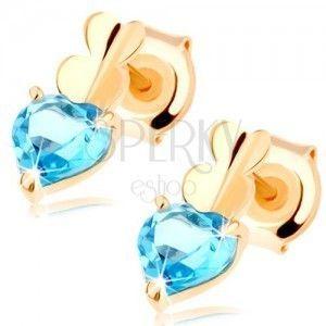 Złote kolczyki 585 - dwa małe serduszka i serduszkowy topaz niebieskiego koloru obraz