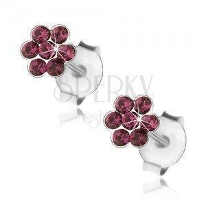 Wkręty ze srebra 925, kwiatek z fioletowych kryształków obraz