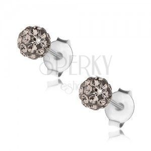 Kuleczkowe kolczyki ze srebra 925, stalowo szare kryształki Preciosa, 4 mm obraz
