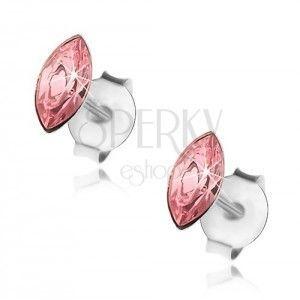 Srebrne kolczyki 925, różowe ziarenko, Swarovski kryształ, sztyfty obraz