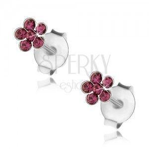 Srebrne 925 kolczyki, lśniący kwiatek z fioletowych kryształków Swarovski obraz