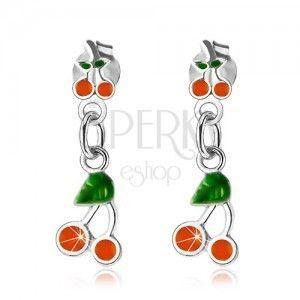Srebrne 925 kolczyki, czereśnie ozdobione pomarańczową i zieloną emalią obraz