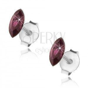 Srebrne 925 kolczyki, fioletowe ziarenko, Swarovski kryształ, wkręty obraz