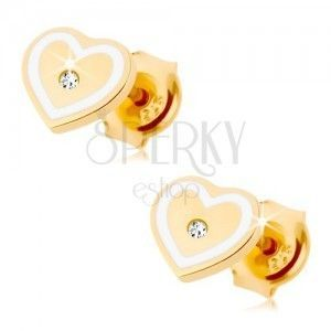 Kolczyki z żółtego 9K złota - serduszko z cyrkonią i zarysem z białej emalii obraz