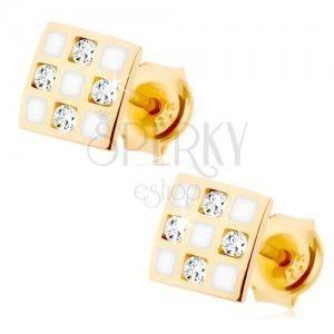 Złote kolczyki 375 - kwadracik z szachownicą, przezroczyste cyrkonie, biała emalia obraz