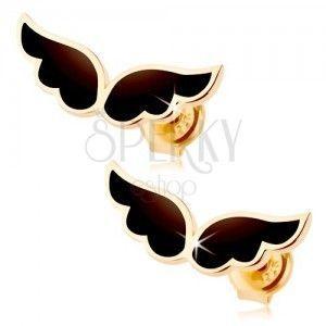 Kolczyki z żółtego 9K złota - para anielskich skrzydeł, czarna emalia obraz